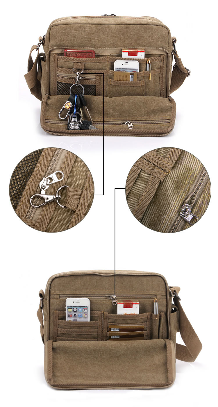 Vintage Canvas Satchel Messenger Shoulder School Camera DSLR Ipad ...