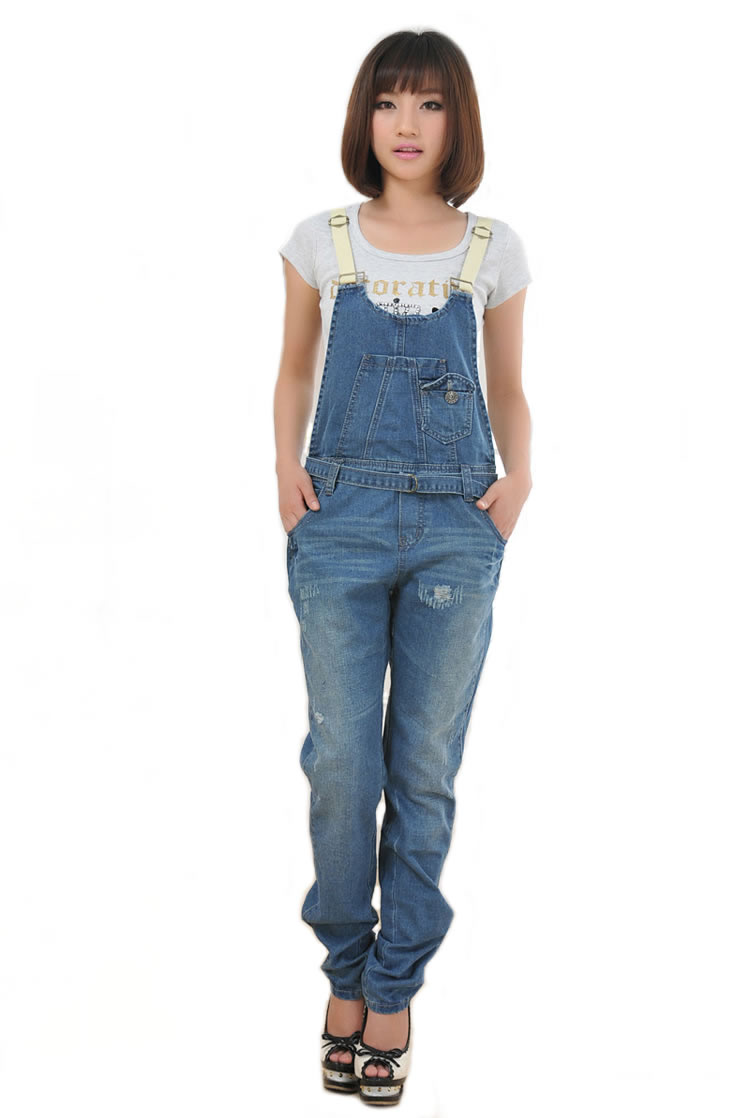 UK NEW Womens Denim Blue StoneWash Ripped Distressed Long Dungarees Jeans Pants | eBay